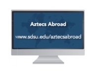 Image: Computer screen with words Aztecs Abroad and url