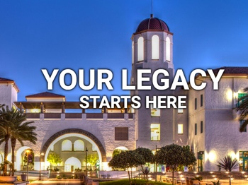 Photo of SDSU Student Union with words Your Legacy Starts Here