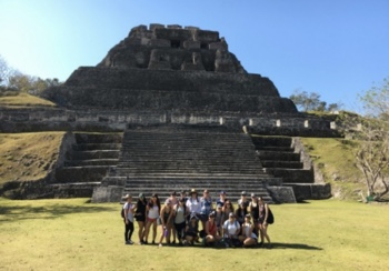 Photo: SDSU Liberal Studies students pose in front of pyramid ruins in Belize.