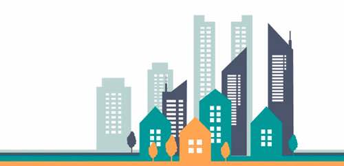 Image: Graphic of cityscape buildings