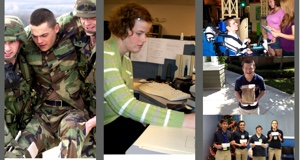 Photo montage: wounded soldier, student at computer, group of students with disabilities