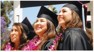 Photo: 3 SDSU students in graduation regalia