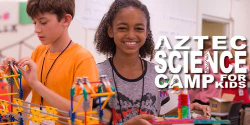 Children with science experiments and words Aztec Science Camp for Kids