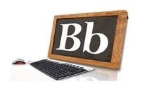 Computer screen with letter B