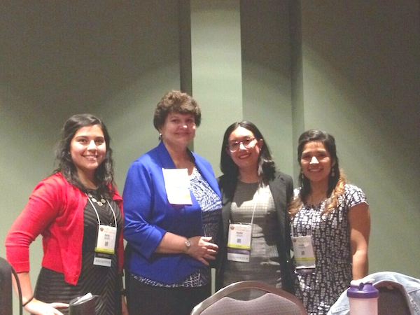 Photo: Dr. Ingraham poses with students Emily Johnson, M.S.; Kenia Lopez, M.S.; and Anais Medina Flores, M.S.