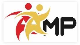 AAMP logo of 2 bodies with letters