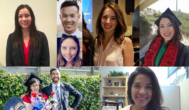 Photo collage of scholarship award winners Amanda Whiteley, Al Yu, Jessie Krier, Cristina Prado, Angela Cerda, Paul Pham and Anais Medina Flores
