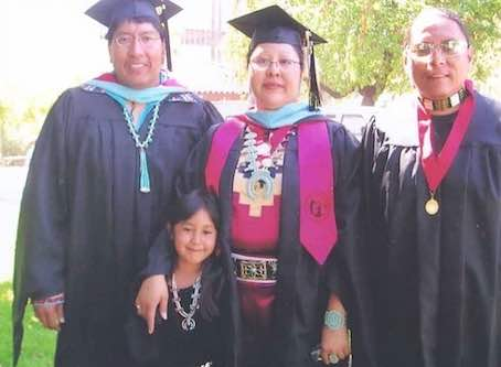 Photo: May 2008: Eugene Honanie, Elvina Charley and Brent Toadlena graduate to become school psychologists and school counselors on their home reservations.