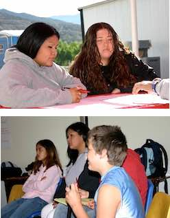 Photo montage: Native American children and NAISC scholar in school setting