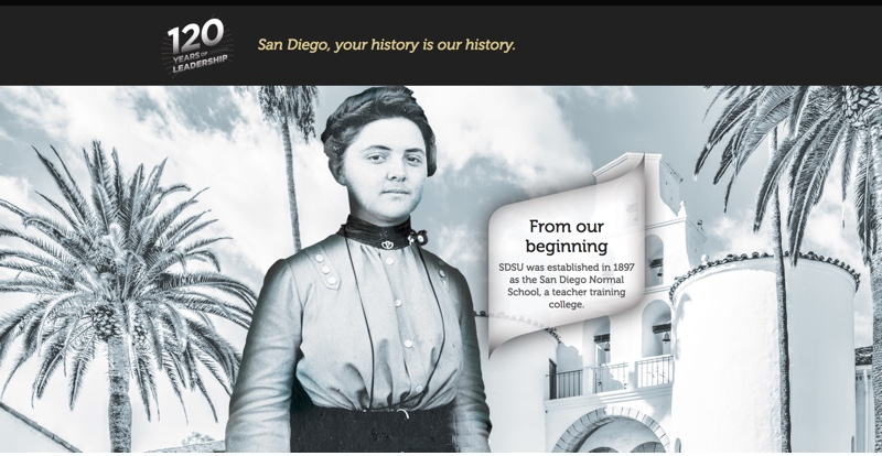 Drawing of SDSU Hepner Hall with palm trees, a woman dressed in turn of the 20th century style, and words: 120 Years of Leadership. San Diego, your history is our history. From our beginning: SDSU was established in 1897 as the San Diego Normal School, a teacher training college.