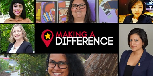 "Photo: Headshots of 6 female students with the words ""Making a Difference"" in the middle and a red circle around a yellow star"