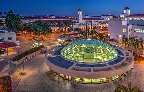 Photo: SDSU Love Library aerial evening view