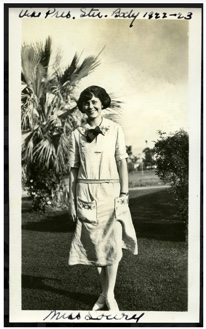 "An outdoor portrait of Margaret Lowry, who was vice president of the San Diego State Teachers' College student body during the 1922-1923 school year. Original photograph is from a scrapbook titled ""Now and Then."""