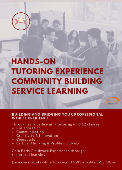 hands-on tutoring experience community building service learning. building and bridging your professional work experience through service learning tutoring in k-12 classes, collaboration communication creativity innovation compassion crititical thinking and problem solving, gain early fieldwork experience through reciprocal learning, earn workstudy  if FWS eligible $13.50/hr
