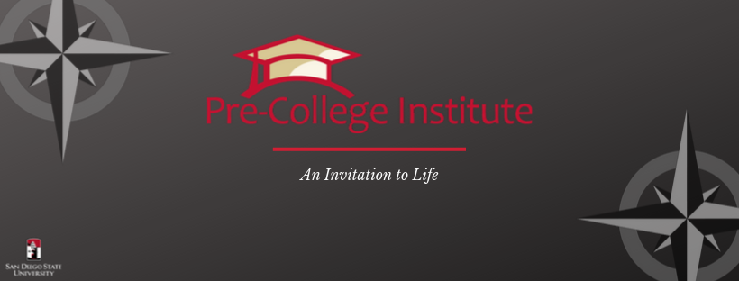 "The Pre-College Institute Banner has a black background, includes the PCI logo and ""An Invitation to Life"" in italic font"