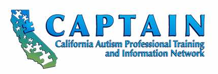 Image: CAPTAIN logo with words California Autism Professional Training and Information Network