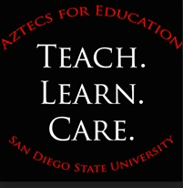 Logo with words Aztecs for Education. Teach. Learn. Care. San Diego State University.