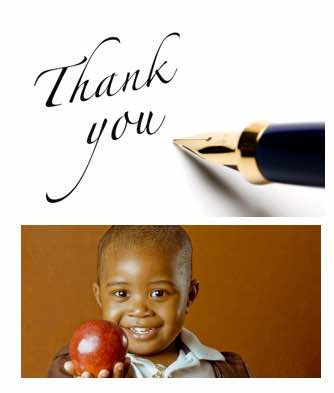 The words Thank You with a pen and a young boy holding an apple