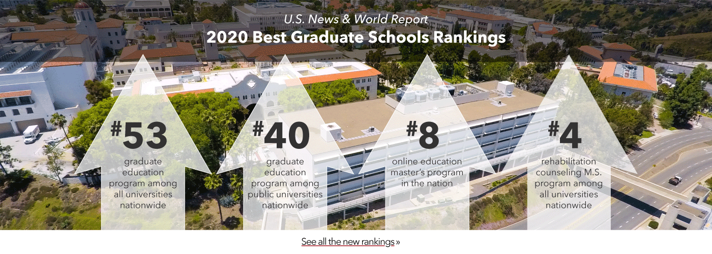 U.S. News & World Report 2020 Best Graduate Schools Rankings. #53 graduate education program among all universities nationwide, #40 graduate education program among public universities nationwide, #8 online education master's in the nation, and #4 rehabilitation counseling M.S. program among all universities nationwide.