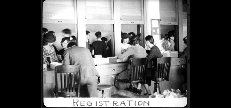 Photo of students registering.