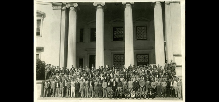 Group of men posing on the steps of San Diego State Teachers' College.